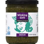 Winking Girl Salsa, Tomatillo, Medium