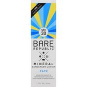 Bare Republic Sunscreen Lotion, Mineral, Face, Broad Spectrum SPF 30