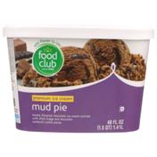 Food Club Mud Pie Mocha Flavored Chocolate Premium Ice Cream Swirled With Thick Fudge And Chocolate Sandwich Cookie Pieces