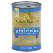 Orchard Naturals Pears, Bartlett, Sliced