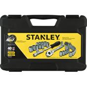 Stanley Mechanics Tool Set, 1/4 Inch & 3/8 Inch Drive, 40 Pieces