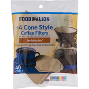 Food Lion Coffee Filters, Unbleached, Cone Style