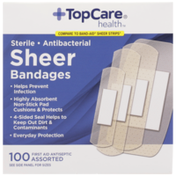TopCare Antibacterial First Aid Antiseptic Assorted Bandages, Sheer