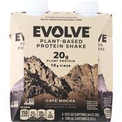Evolve Protein Shake, Plant-Based, Cafe Mocha, 4 Pack