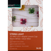 Smart Living String Light, 20 SMD LED, Maple Leaves Cap, Warm White, Silver Wire