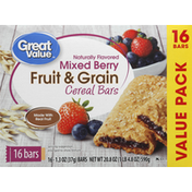 Great Value Cereal Bars, Fruit & Grain, Mixed Berry, Value Pack