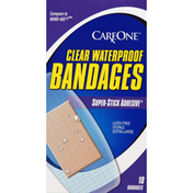 CareOne Bandages, Super-Stick Adhesive, Waterproof, Clear