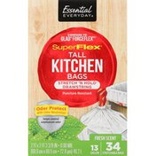 Essential Everyday Tall Kitchen Bags, SuperFlex, Stretch 'n Hold Drawstring, Odor Protect, Fresh Scent, 13 Gallon