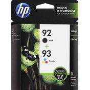 HP Ink Cartridges, Black 92, Tri-Color 93, Combo-Pack