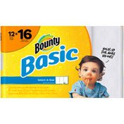 Bounty Basic Basic Bounty Basic Select-A-Size Paper Towels, White, 12 Big Rolls = 16 Regular Rolls Towels/Napkins
