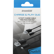 dreamGEAR Charge Cable, 10 Foot, Twin Pack