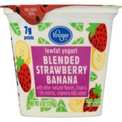Kroger Yogurt, Lowfat, Blended Strawberry Banana