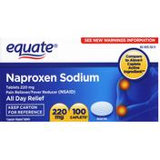 Equate Naproxen Sodium, 220 mg, Caplets