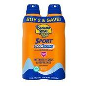 Banana Boat Clear Sunscreen Spray, UVA/UVB Broad Spectrum SPF 50+, Twin Pack