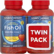 Nature's Reward Fish Oil, 1200 mg, Quick Release Softgels, Natural Lemon Flavor, Twin Pack