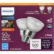 Philips Light Bulbs, LED, Soft White, 5.5 Watts, 2 Pack