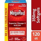 MegaRed Omega-3 Krill Oil 350mg Softgels, EPA & DHA Omega-3 Fatty Acids With No Fishy Aftertaste