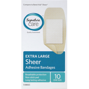 Signature Care Bandages, Adhesive, Sheer, Extra Large