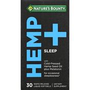 Nature's Bounty Hemp + Sleep, Rapid Release Liquid Softgels