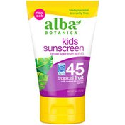 Alba Botanica Tropical Fruit Broad Spectrum SPF 45 Kids Sunscreen Lotion