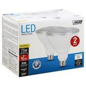 Feit Electric Light Bulbs, Flood, LED, Daylight, 10.5 Watts, 2 Pack
