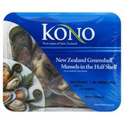 Kono Mussels, New Zealand Greenshell, in the Half Shell