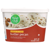 Food Club Rich Butter Pecan Flavored Premium Ice Cream Mixed With Real Pecan Pieces
