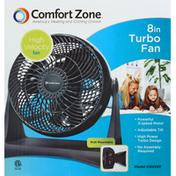 Comfort Zone Turbo Fan, 8 Inches