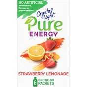 Crystal Light Strawberry Lemonade Naturally Flavored Powdered Drink Mix with Caffeine & No Artificial Sweeteners