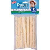 Paws Happy Life Beefhide Twist Sticks, Plain Flavor, For Dogs