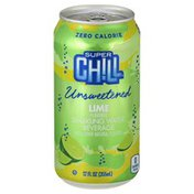 Super Chill Sparkling Water Beverage, Unsweetened, Lime Flavored