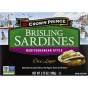 Crown Prince Sardines, Brisling, Mediterranean Style, One Layer