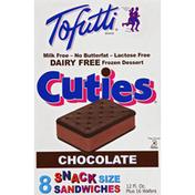Tofutti Frozen Dessert, Dairy Free, Snack Size Sandwiches, Chocolate