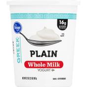 Kroger Yogurt, Greek, Whole Milk, Plain