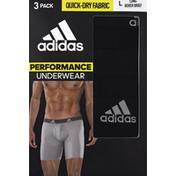 adidas Men's Performance Long Boxer Briefs – 3 Pack - L - Black/Onix Grey
