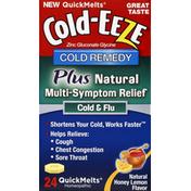 Cold-Eeze Cold Remedy, Plus, QuickMelts, Natural Honey Lemon Flavor