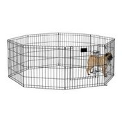 "Midwest Homes for Pets 8-Panel 24"" x 24"" Black Pet Exercise Pen With Door"