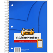 Smart Living Notebook, 5 Subject, Wide Ruled