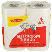 Valu Time Double Rolls Bathroom Tissue