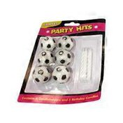 Wax Soccer Ball Holder With Birthday Candles - White & Black