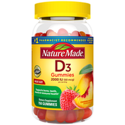Nature Made Vitamin D3 2000 IU (50 mcg) Gummies - Strawberry, Peach & Mango