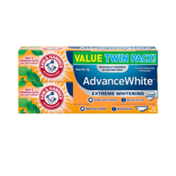 Arm & Hammer Advanced White Extreme Whitening Toothpaste, Twin Pack (Contains Two Tubes) -Clean Mint- Fluoride Toothpaste