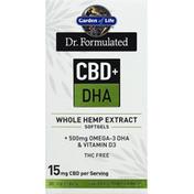 Garden of Life Whole Hemp Extract, CBD + DHA, Softgels