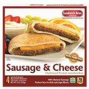 Sandwich Bros. of Wisconsin Flatbread Pocket Sandwiches Sausage & Cheese - 4 CT