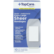 TopCare Antibacterial First Aid Antiseptic All One Size Extra Large Bandages, Sheer