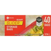 Southeastern Grocers Storage Bags, Slider, Quart, 0.94 Liter