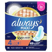 Always Pads Size 4 Overnight Absorbency Unscented With Wings