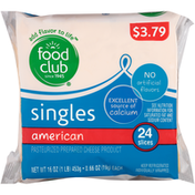 Food Club American Pasteurized Prepared Cheese Product Singles