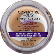 CoverGirl Simply Ageless Instant Wrinkle Defying Foundation, Medium Light, Female Cosmetics