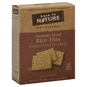 Back to Nature Rice Thin Sesame Seed Crackers, Gluten Free